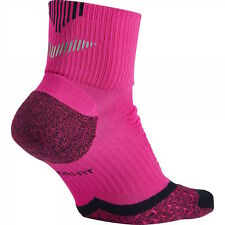 NIKE Elite Mens Running Quarter Cushioned Reflective Socks Pink Mens 12 - 13.5