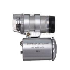 Portabile 60x Lente D'Ingrandimento Con LED Luce/UV & Case Per Gioielli Monete
