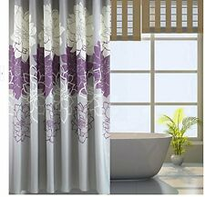 Bathroom Purple Gray Flowers Waterproof Polyester Shower Curtain 72 x 72 Inch