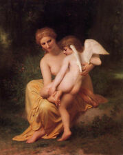Huge art Oil painting Bouguereau Wounded Love Venus with angel cupid canvas 36""