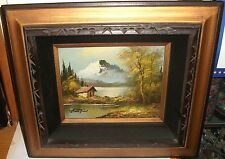 G.WHITMAN SNOW MOUNTAIN CABIN LANDSCAPE ORIGINAL OIL ON CANVAS PAINTING