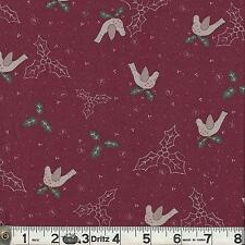 Lecien CANDY CANE ANGELS Holly & Birds Wine Fabric 1/2 yard by Lynette Anderson