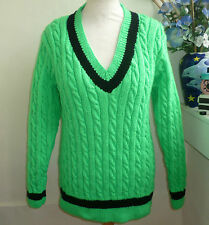 Hand knitted Emerald Aran classic cricket jumper sweater by bexknitwear