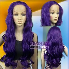 70cm Dark Purple Heat Styleable Lace Front Wavy Long Cosplay Wigs S_737