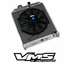 VMS POLISHED ALUMINUM DUAL CORE RADIATOR + BK SLIM FAN FOR 92-95 HONDA CIVIC
