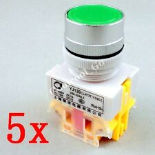 5x Green Momentary OFF-ON N / O Push Button Switches 600V 10A 22mm Y090 LAY37