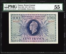 FRANCE TRESOR CENTRAL 100 FRANCS 1943 PMG 55 ABOUT UNCIRCULATED P 105a