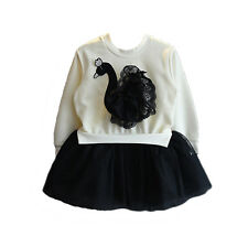 Cinda Girls White and Black Swan Long Sleeve Tutu Rara Dress 5-6 Years