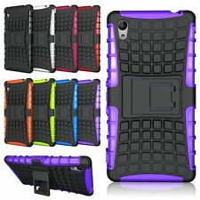 Heavy Duty Shockproof Stand Case Cover For Sony Xperia M4 Aqua Purple