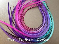 Lot 20 Grizzly Feather Hair Extensions long thin striped Real Tie Dye Ombre MIX