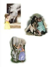 """LITTLE GIRLS with White HORSE.Three Poses.Total Twelve 6"""" Squares. SALE!"""