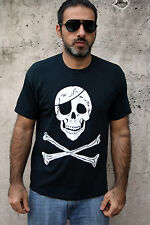 JOLLY ROGER Muscle SKULL PIRATE MENS SHORT SLEEVE BLACK T SHIRT TOP M SuPER!!