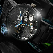Winner Automatic Black Stainless Steel Case Strap Skeleton Watch Roman Numerals