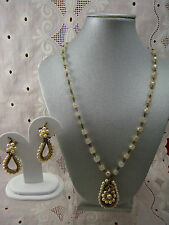 Vintage Miriam Haskell Faux Baroque Pearl Ornate Necklace Pendant Earring Set