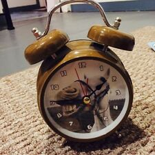 Collectible Horse Sound Twin Bell Wind-Up Alarm Clock Novelty Brown-Vtg Design