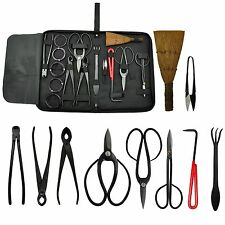 Bonsai Tool Kit 10 piece Set Carbon Steel Scissor Cutter Shear Wire Garde... New
