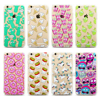 Cute Cartoon Pattern Soft TPU Clear Phone Case Cover For iPhone 5 5s 6 6s Plus