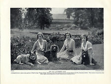 ELKHOUND COCKER SCOTTISH TERRIER DOGS AND LADY OWNERS OLD 1934 DOG PRINT PAGE