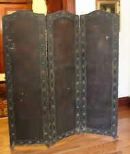 Antiq American Painted Leather 3Panel Screen Room Divider 1910s'