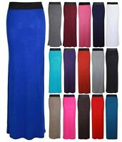 WOMENS CONTRAST ELASTIC WAIST LADIES LONG STRETCH MAXI DRESS FULL LENGTH SKIRT
