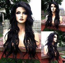 USA // Off Black Curly Heat OK LACE FRONT & Skin PART Long Wavy Wig