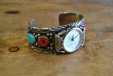 Vintage Native American Sterling Silver Coral and Turquoise Watch Cuff Signed