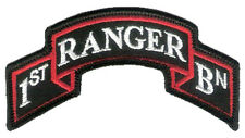 "New Hook & Loop - Modern US 1st Ranger Battalion Scroll - 3 7/8"" x 2"" Merrowed"