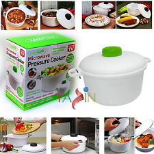 MICROWAVE PRESSURE COOKER STEAMER VEGETABLE RICE PASTA COOKING POT PAN EASY COOK