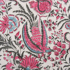 "Block Print, Hand Printed, Cotton Fabric. 2.5 Yards, 42"" Wide. Traditional Birds"