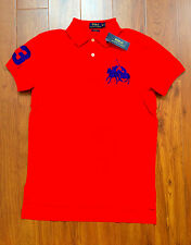 RALPH LAUREN Mens Custom Fit Cotton Dual Match Pony Polo Red M  NWT