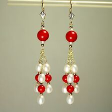 14k solid yellow gold natural Red Coral, white Pearl gorgeous earrings leverback