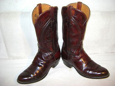 MENS VINTAGE MADE IN SAN ANTONIO LUCCHESE 9EE BLACK CHERRY CLASSIC COWBOY BOOTS