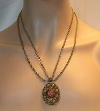 VINTAGE CELEBRITY GOLD TONE MOROCCAN PENDANT NECKLACE N293