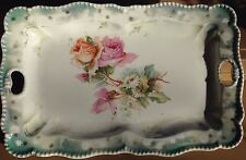 REDUCE Antique Vict. Marked RS Prussia Porcelain Rose serving Tray/ dresser tray