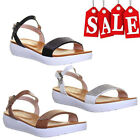 LADIES WOMENS FOOTBED STYLE FLATFORM WEDGE BUCKLE SANDAL ANKLE STRAP SIZE UK 3-8