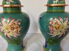 VTG PAIR CHINESE CLOISONNE GILDED Urns Vases  Lt Turquoise FLORAL CLOUD SCALE