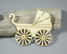 LARGE New Baby First Pram Embellishment MDF Birch Plywood Laser Cut Wooden Shape