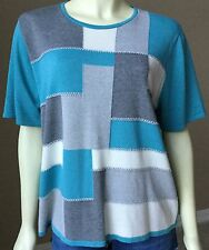 Womens Alfred Dunner Color Block Light Sweater Knit Top Blouse XL