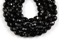 Black Round Faceted Glass Beads 6 mm 50 pcs