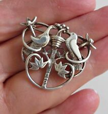 Vtg Ola Gorie OMG Scottish Celtic Love Birds Sterling Silver Pin Brooch RARE