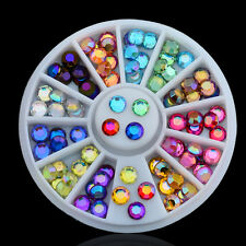 3D Nail Art Tips Crystal Glitter Rhinestone DIY Decoration Wheel 12 Colors .