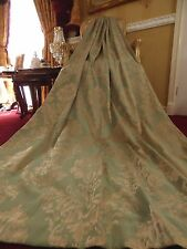 "French Damask Dress Curtains Eau De Nil Duck Egg & Gold Chateau Chic 42 x 90""D"