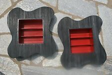 Pair Mid Century Modern Amoeba Shadow Box Striated Plywood & Lacquered Curio Box