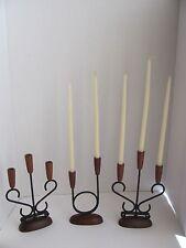 Set of 3 Teak Metal Candle Holdlers Candlestick Made in Denmark MCM