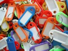 50x ASSORTED COLOURED PLASTIC KEY RING ID TAGS + NAME/ID CARD Language Fob Label