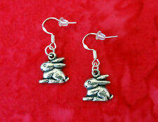 VINTAGE STYLE SILVER BUNNY RABBIT EARRINGS~CUTE EASTER GIFT~.925 STERLING HOOK