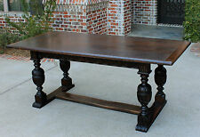 Antique French Carved Oak Farmhouse Trestle LARGE Dining Table Desk Pegged 1880s