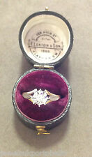 VINTAGE 18ct Solid Gold Solitaire Diamond platinum top Ring 1977 size M1/2.