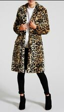 Stunning Ladies Faux Fur Leopard Print Coat - Size 12 - Fully Lined - BNWT