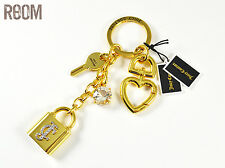 Juicy Couture Goldtone JC Padlock Key Stone Handbag Charm Key Fob Keychain